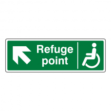 Refuge Point Arrow Up Left Sign