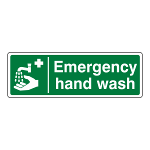 Emergency Hand Wash Sign (Landscape)