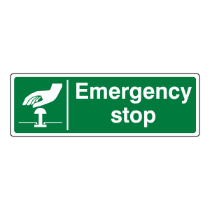 Green Emergency Stop Sign (Landscape)