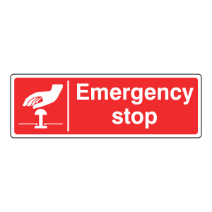 Red Emergency Stop Sign (Landscape)