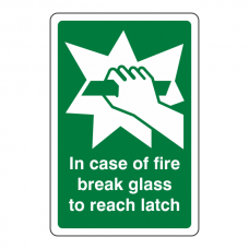 In Case Of Fire Break Glass To Reach Latch Sign