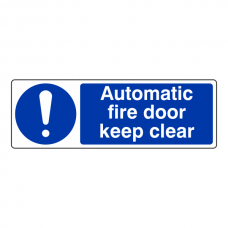 Automatic Fire Door Keep Clear Sign (Landscape)