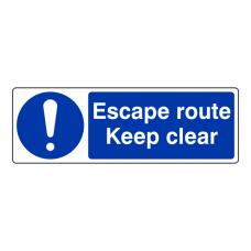 Escape Route Keep Clear Sign (Landscape)