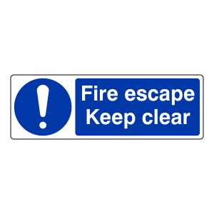 Fire Escape Keep Clear Sign (Landscape)