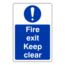 Fire Exit Keep Clear Sign (Portrait)