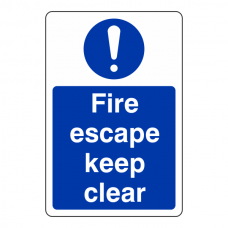 Fire Escape Keep Clear Sign (Portrait)