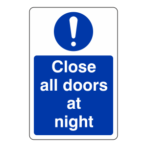 Close All Doors at Night Sign (Portrait)