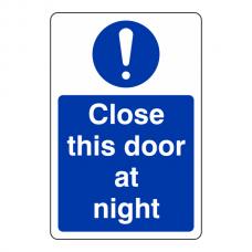 Close This Door at Night Sign (Portrait)