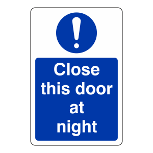 Close This Door at Night Sign (Portrait)
