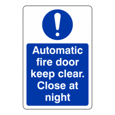 Automatic Fire Door Close at Night Sign (Portrait)