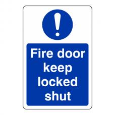 Fire Door Keep Locked Shut Sign (Portrait)