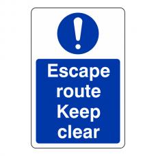 Escape Route Keep Clear Sign (Portrait)