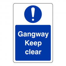 Gangway Keep Clear Sign (Portrait)