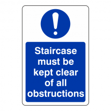 Staircase Must Be Kept Clear of All Obstructions Sign (Portrait)