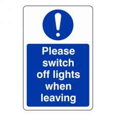 Please Switch Off Lights When Leaving Sign (Portrait)