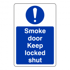Smoke Door Keep Locked Shut Sign (Portrait)