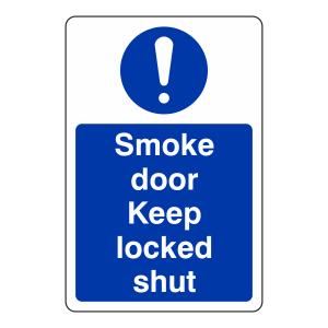Smoke Door Keep Locked Shut Sign (Portrait)