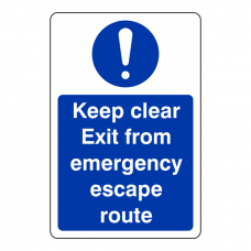 Keep Clear Exit From Emergency Escape Route Sign (Portrait)
