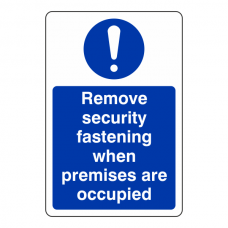 Remove Security Fastening ... Sign (Portrait)