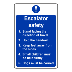 Escalator Safety Action Sign