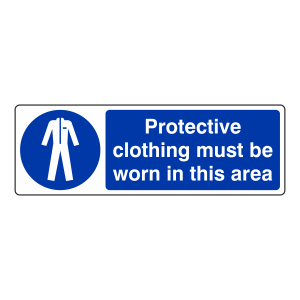 Protective Clothing Must Be Worn In This Area Sign (Landscape)