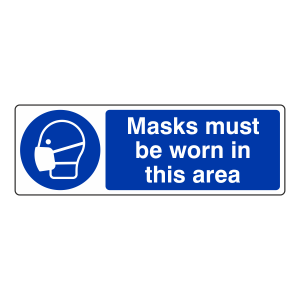 Masks Must Be Worn in This Area Sign (Landscape)