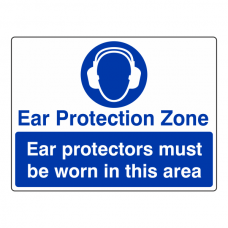 Ear Protection Zone Sign (Large Landscape)