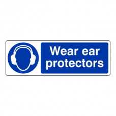 Wear Ear Protectors Sign (Landscape)