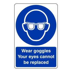 Wear Goggles Your Eyes Cannot Be Replaced Sign