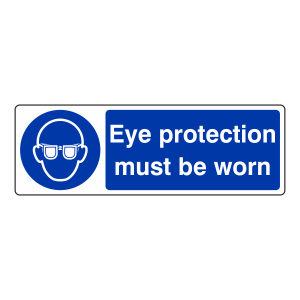 Eye Protection Must Be Worn Sign (Landscape)