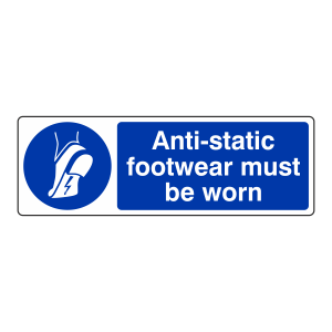 Anti-Static Footwear Must Be Worn Sign (Landscape)