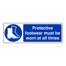 Protective Footwear Must Be Worn At All Times Sign (Landscape)