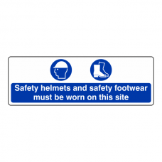 Safety Helmets and Footwear Must Be Worn Sign (Landscape)
