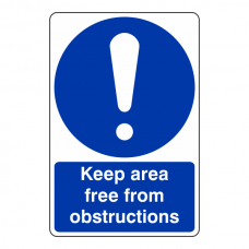 Keep Area Free From Obstructions Sign