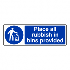 Place All Rubbish in Bins Provided Sign (Landscape)