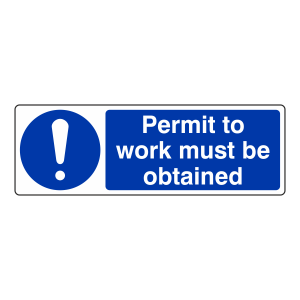 Permit To Work Must Be Obtained Sign (Landscape)