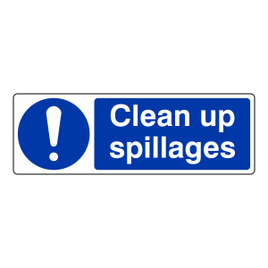 Clean Up Spillages Sign (Landscape)