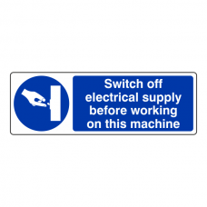 Switch Off Electricity Supply Before Working Sign (Landscape)