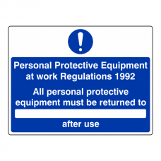 PPE at Work Regulations 1982 Equipment Returned To Sign (Large Landscape)