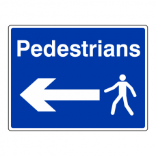 Pedestrians Arrow Left Sign (Large Landscape)