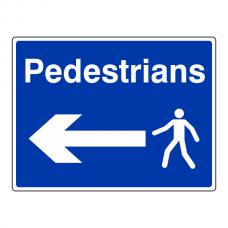Pedestrians Arrow Left Sign (Large Landscape)