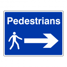 Pedestrians Arrow Right Sign (Large Landscape)
