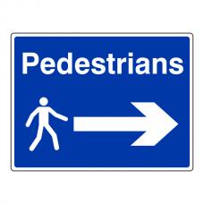 Pedestrians Arrow Right Sign (Large Landscape)