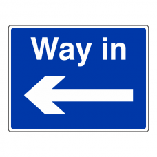 Way In Arrow Left Sign (Large Landscape)
