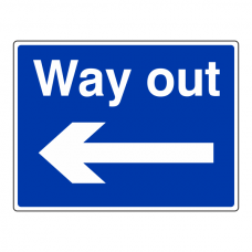 Way Out Arrow Left Sign (Large Landscape)