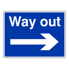 Way Out Arrow Right Sign (Large Landscape)