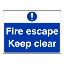 Fire Escape Keep Clear Sign (Large Landscape)