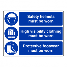 Safety Helmets / High Visibility / Protective Footwear Sign (Large Landscape)