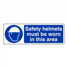 Safety Helmets Must Be Worn In This Area Sign (Landscape)
