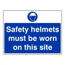 Safety Helmets Must Be Worn On This Site Sign (Large Landscape)